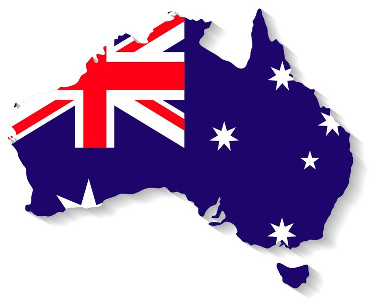 Australia Map with flag design